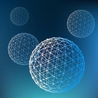 Abstrait polygonale portée des lignes et des points boule des lignes connectées aux points