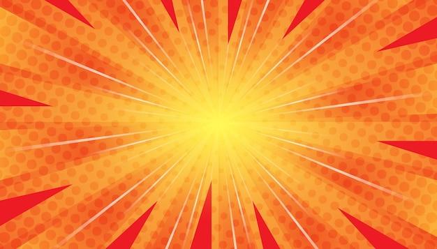Abstrait pop art bande dessinée rayons de lumière dispersés zoom avec carré de demi-teintes