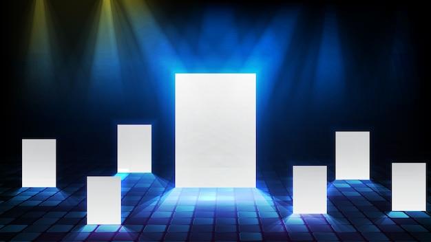 Abstrait de porte multiple de lumière rougeoyante, concept d'entreprise de bon choix