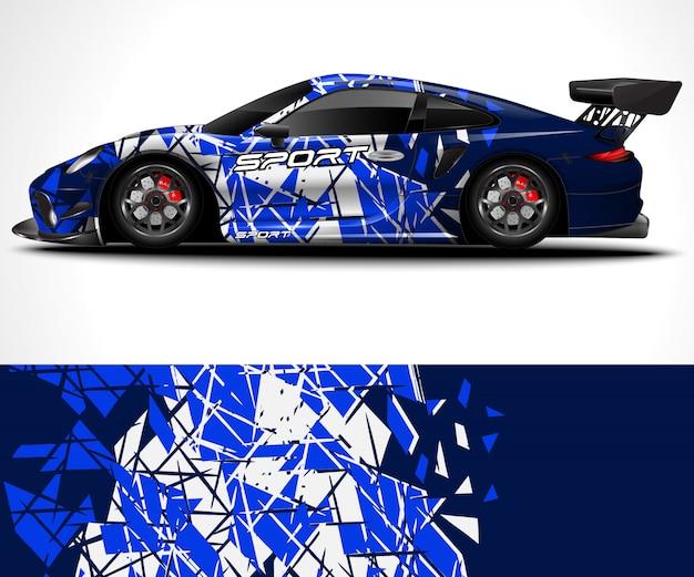 Abstrait pour la conception de l'emballage de voiture de sport de course et la livrée du véhicule