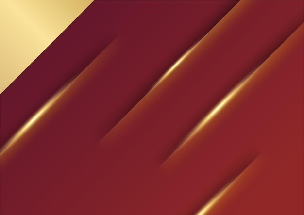 Abstrait de présentation rouge et or. abstrait de luxe avec des lignes dorées sur un concept de fond rouge sombre et moderne style 3d. illustration du vecteur sur le design de luxe du modèle moderne.