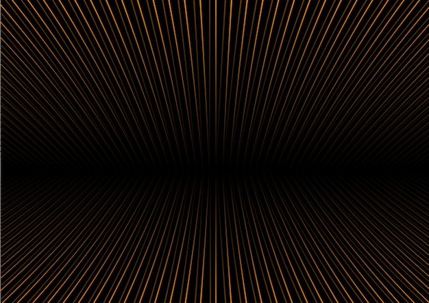 Abstrait avec des rayures d'or en perspective