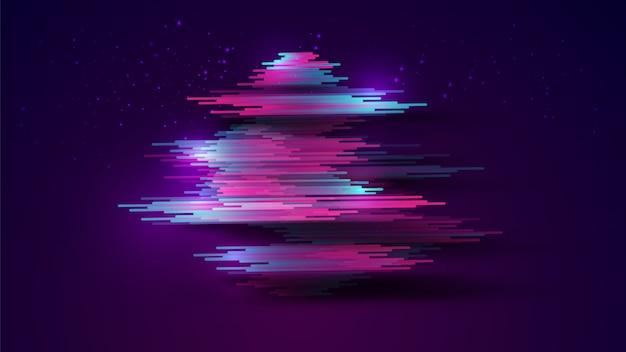Abstrait réaliste rayures bleu-rose fluo avec ombre sur dégradé bleu foncé
