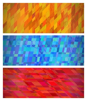 Abstrait avec des rectangles colorés. ensemble de trois beaux modèles de conception de bannière géométrique dynamique futuriste. illustration vectorielle