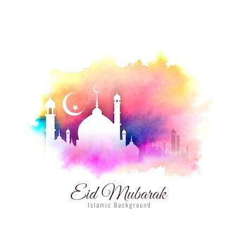 Abstrait religieux eid mubarak islamique fond coloré