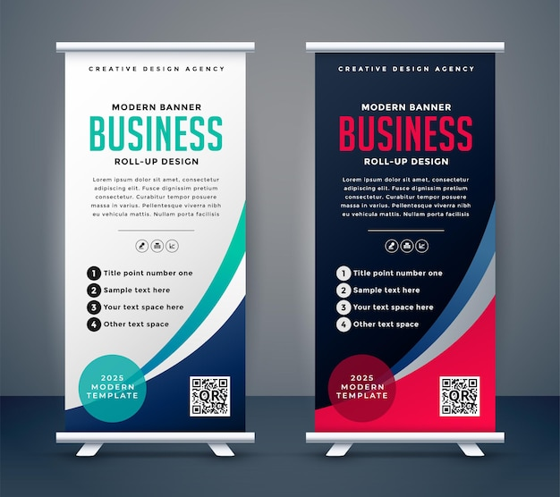 Abstrait roll up display standee banner dans une teinte sombre et claire
