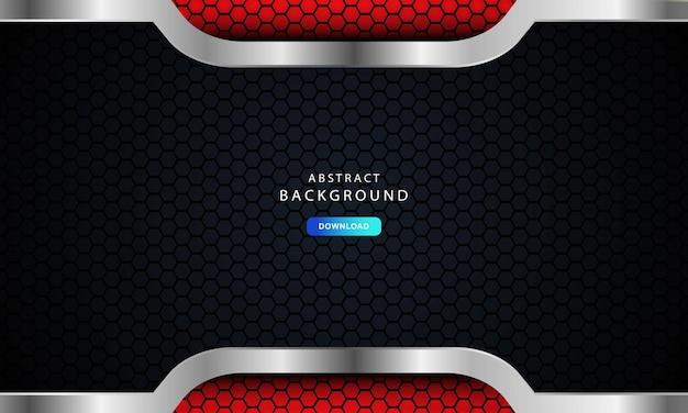 Abstrait rouge foncé sur des lignes métalliques avec un motif de maille hexagonale, illustration vectorielle sur fond moderne futuriste sombre.