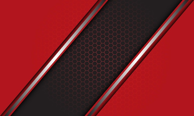 Abstrait rouge gris argent ligne slash chevauchent fond de maille hexagonale