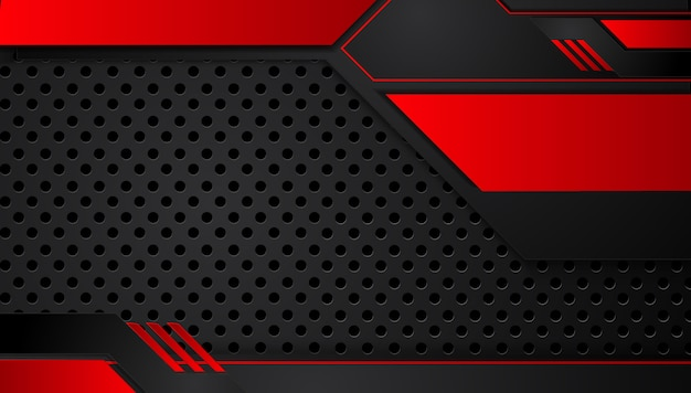 Abstrait rouge métallique noir avec des bandes de contraste
