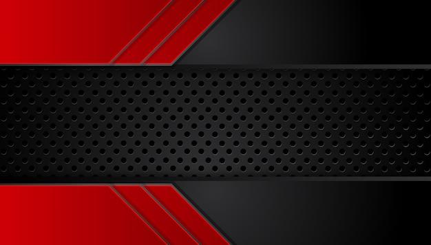 Abstrait rouge métallique noir avec des bandes de contraste.
