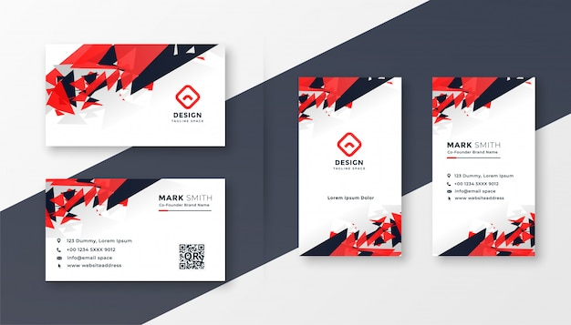 Abstrait rouge et noir design de carte de visite