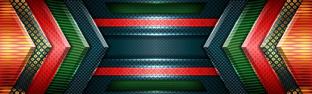 Abstrait rouge vert moderne futuriste avec fond de chevauchement or