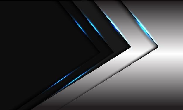 Abstrait ruban gris métallique direction de la flèche de la lumière bleue avec un espace vide sombre design illustration de fond futuriste moderne.