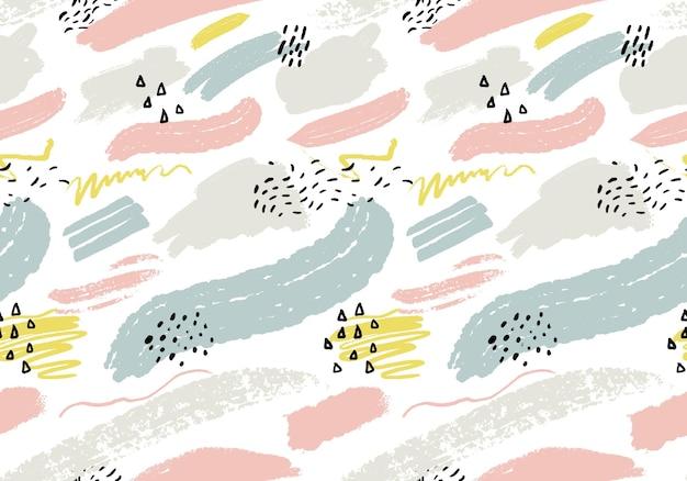 Abstrait sans couture avec des traits de peinture artistique. texture minimaliste avec des marques de main. motif répétitif pour le tissu et la conception d'impression.