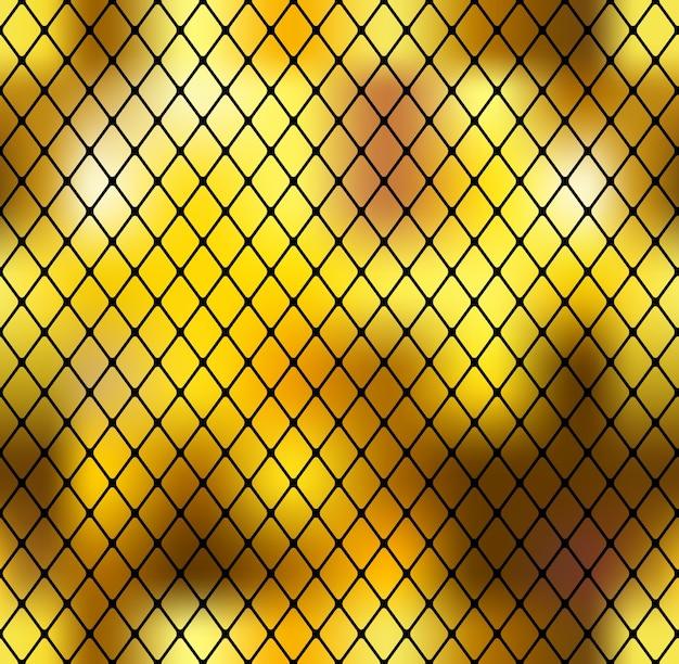 Abstrait sans soudure doré avec grille noire