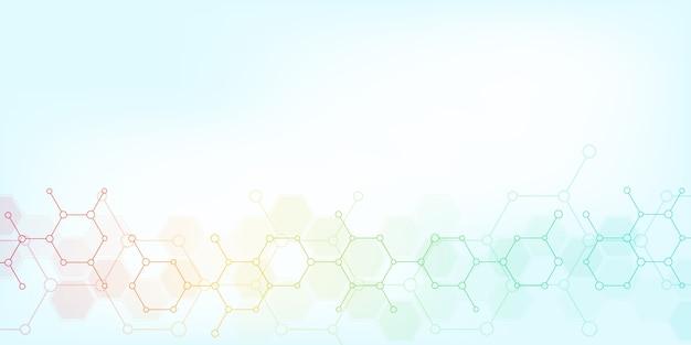 Abstrait de la science et de la technologie de l'innovation. formation technique avec structures moléculaires et génie chimique.