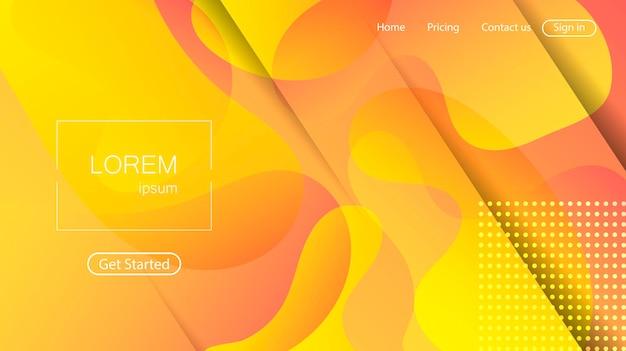 Abstrait de site web. page de destination de formes dynamiques colorées lumineuses