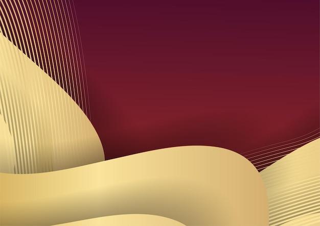 Abstrait sombre avec forme géométrique et combinaison d'éléments dorés. fond rouge et or avec des lignes dorées de luxe