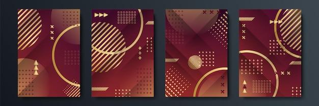 Abstrait sombre avec forme géométrique et combinaison d'éléments dorés