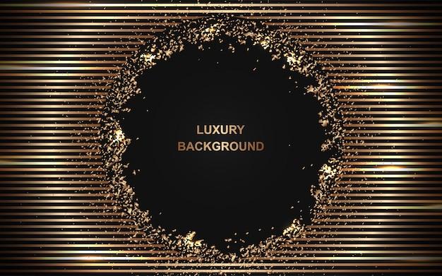 Abstrait sombre luxe avec élément de ligne dorée