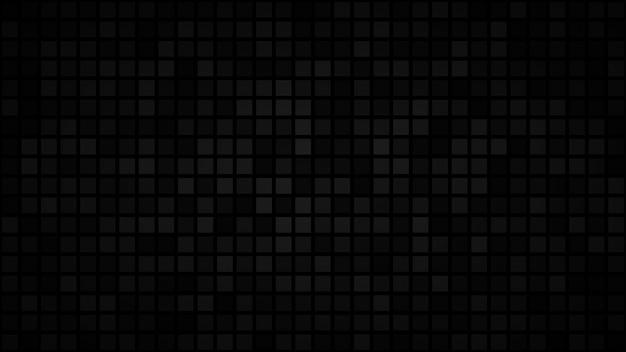 Abstrait sombre de petits carrés ou pixels dans les tons de noir et gris.