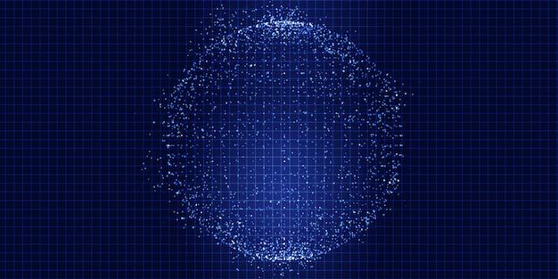 Abstrait avec une sphère de points techno