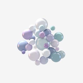 Abstrait avec des sphères 3d colorées, des bulles brillantes, des boules.