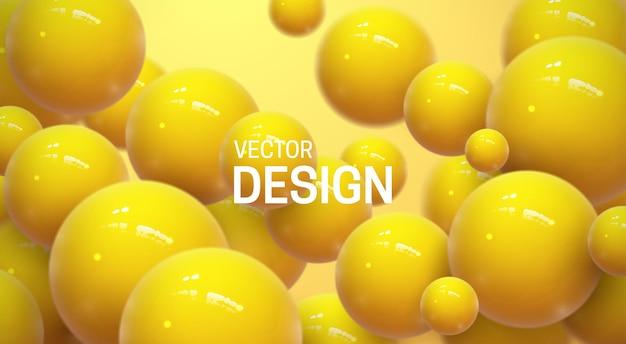 Abstrait avec des sphères 3d jaunes