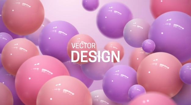 Abstrait Avec Des Sphères 3d Rebondissantes Vecteur Premium