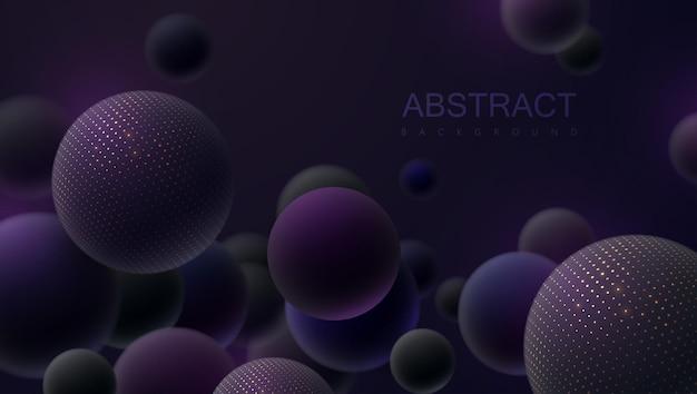Abstrait avec des sphères 3d violettes