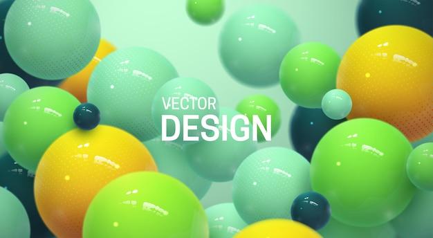 Abstrait avec des sphères ou des bulles 3d multicolores