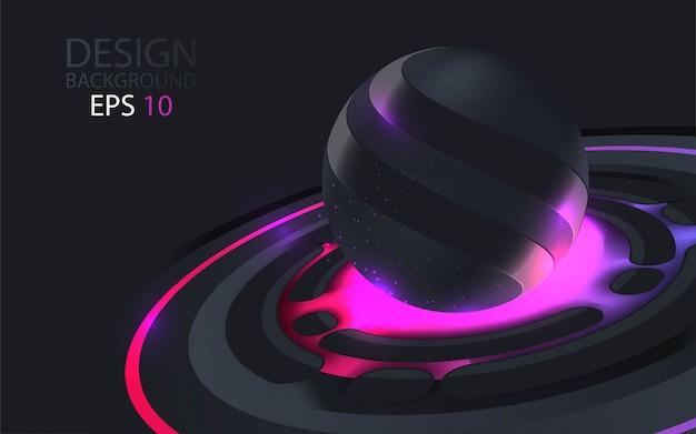 Abstrait avec des sphères de couleur noire et colorée