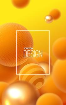 Abstrait avec des sphères orange qui coule