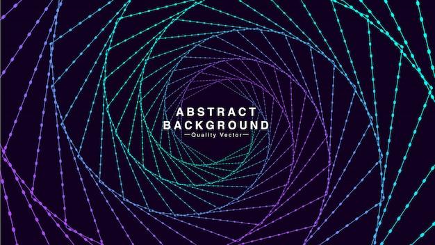 Abstrait avec spirale de ligne hexagonale dans les couleurs cyan et violet