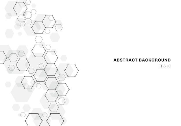 Abstrait avec la structure de la molécule hexagonale du système de neurones