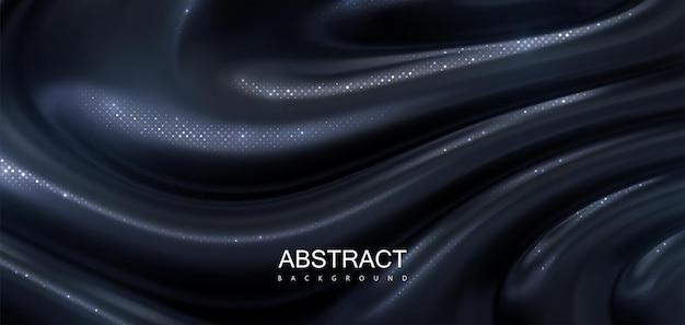 Abstrait de substance dégoulinante noire avec des paillettes argentées chatoyantes