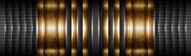 Abstrait tech dégradé or mat avec fond noir de couche de matière