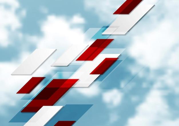 Abstrait tech géométrique sur ciel bleu. conception de vecteur