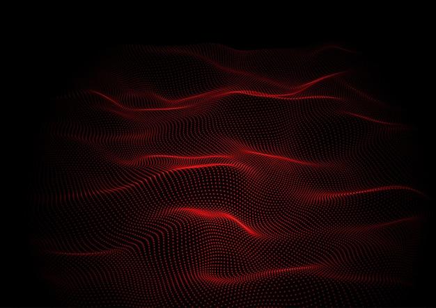 Abstrait techno avec conception de particules qui coule