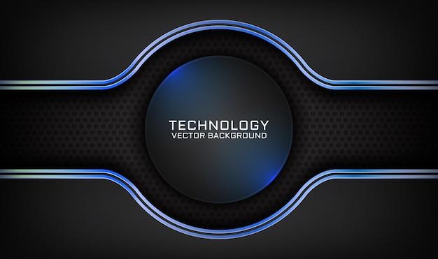 Abstrait technologie 3d noir avec effet de lumière bleue sur un espace sombre