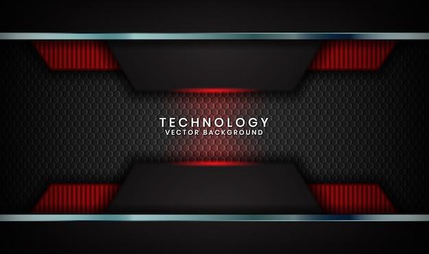 Abstrait technologie 3d noir avec effet de lumière rouge sur un espace sombre