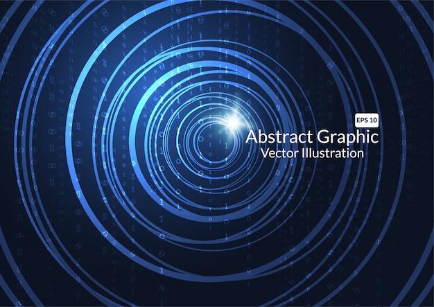 Abstrait de technologie avec des cercles de néon rougeoyants