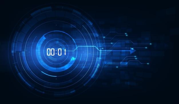 Abstrait technologie futuriste avec concept de minuterie numérique et compte à rebours, transparent