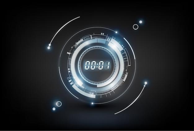Abstrait de la technologie futuriste avec concept de minuterie numérique et compte à rebours, transparent