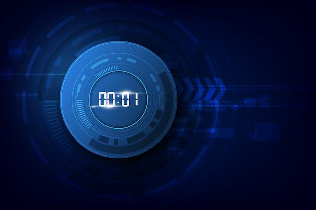 Abstrait technologie futuriste avec minuterie numérique