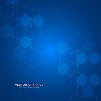 Abstrait de technologie avec des hexagones