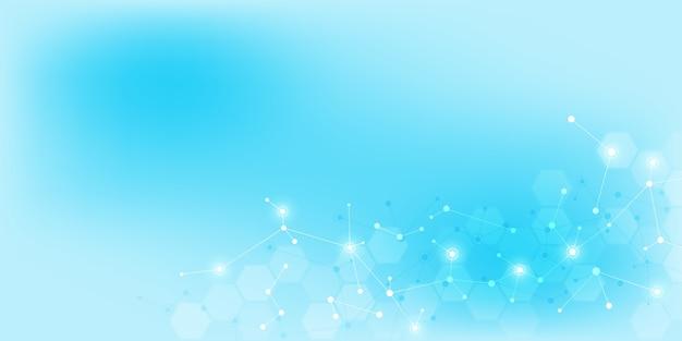 Abstrait de technologie et d'innovation avec des structures moléculaires et un réseau neuronal. molécules adn et génie génétique. concept technique et scientifique.