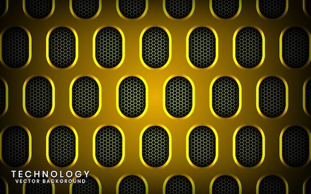 Abstrait de la technologie jaune 3d avec effet brillant, couches superposées sur un espace sombre avec ovale métallique