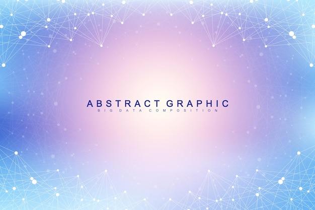 Abstrait de la technologie avec ligne connectée et points. visualisation des mégadonnées. contexte du concept d'intelligence artificielle et d'apprentissage automatique. réseaux analytiques. illustration vectorielle.