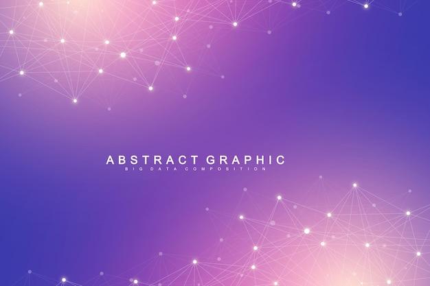 Abstrait de la technologie avec ligne connectée et points. visualisation des mégadonnées. visualisation de la toile de fond en perspective. réseaux analytiques. illustration vectorielle.